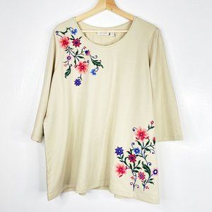 DENIM&CO French Terry 3/4 Sleeve top embroidery 1X